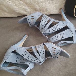Womens Blue Suede Unisa Sz 9 Heels. Cut out detail